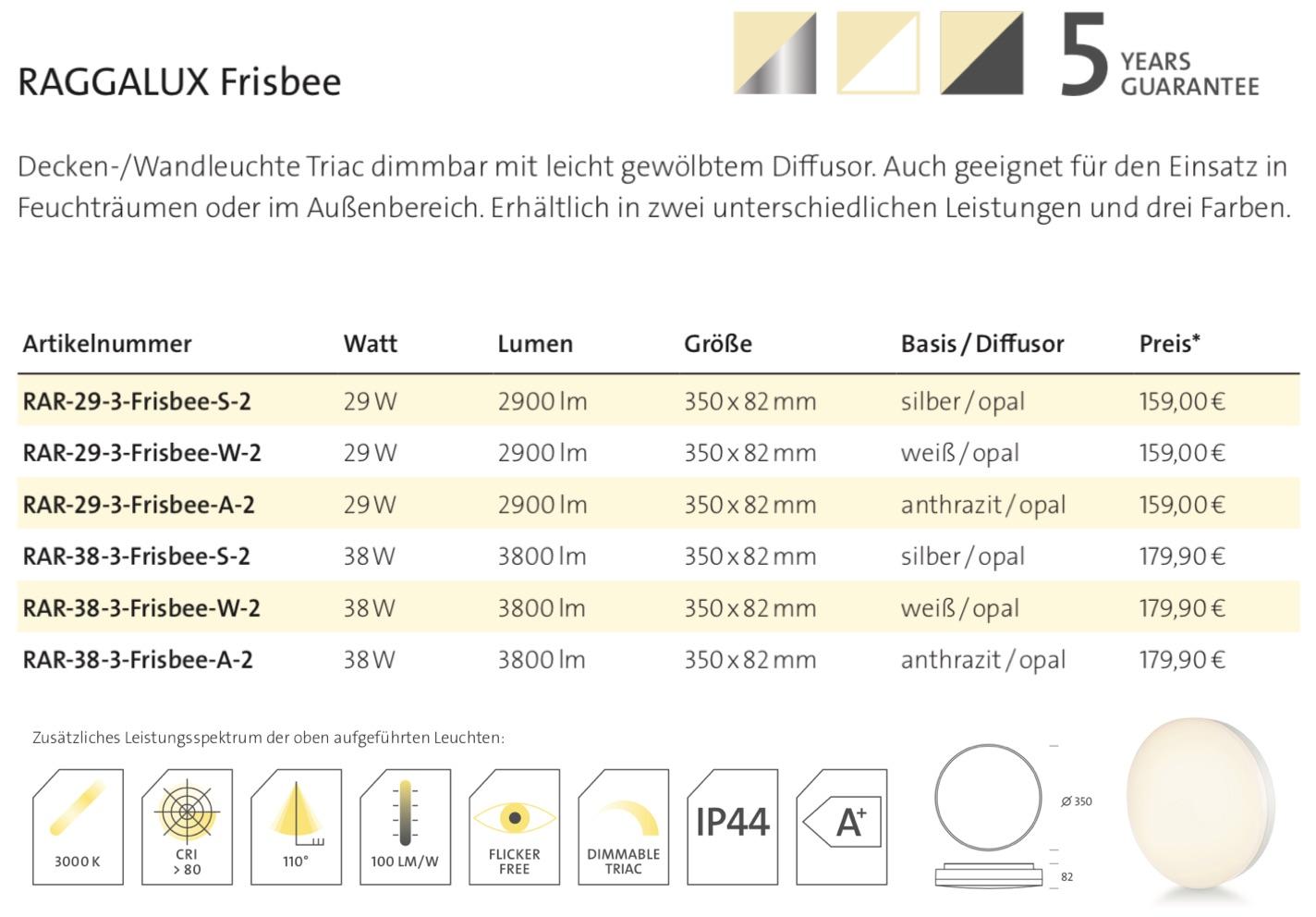 Raggalux Frisbee Datenblatt
